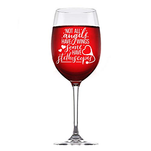 Not all Angels Have Wings Some Have Stethoscopes, Nurse Design Custom Stem Wine glass 12 ounce, Mothers Day Gift, Wine Glass Christmas Gift, Best Friends Gift, Sisters Gifts. ()