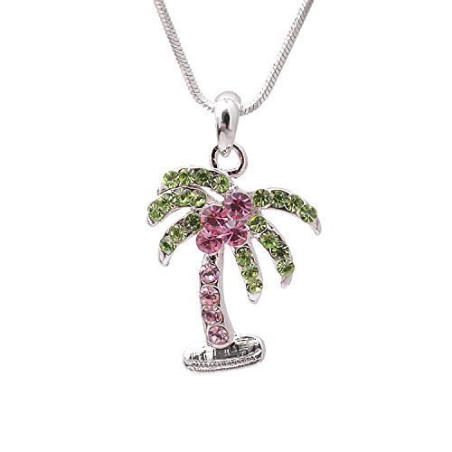 Silver Plated Crystal Palm Tree Necklace (Pink and (Tiffany Palm Tree Necklace)