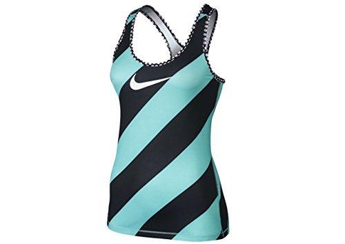 Nike Women's Pro Diagonal Stripe Training Tank Top Blue/Black/White Polyester Running Tank Top Medium