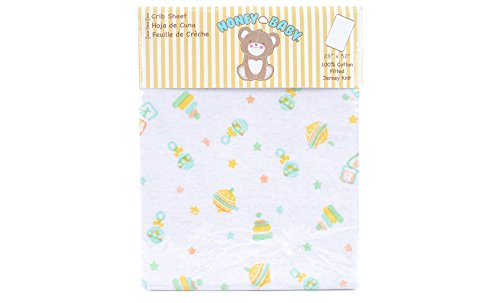 Honey Baby 100% Cotton Neutral Fitted Crib & Toddler Bed Sheet (Baby Toys) by HONEYBABY   B01H7QCAKC