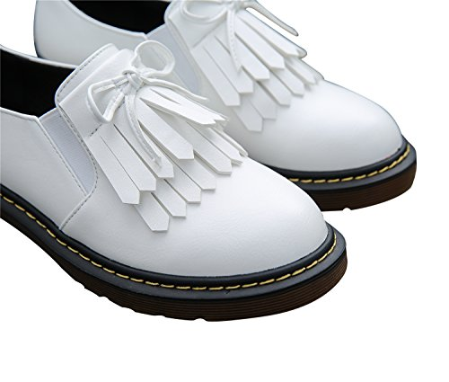 Smilun Lady¡¯s Brogues Classic Lace-up Flats Shoes for Autumn Winter Spring Slip On White Size 10 B(M) US by Smilun (Image #4)