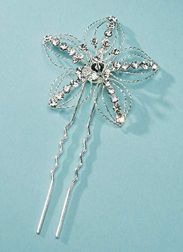 Darice DT9040 David Tutera Rhinestone Flower Hair Pin, 5 Petal, 1.5 by 3.5-Inch, Silver