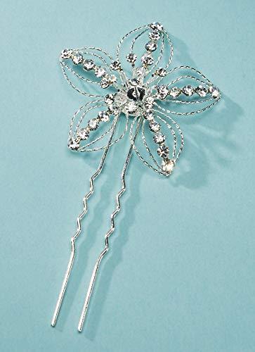 Darice DT9040 David Tutera Rhinestone Flower Hair Pin, 5 Petal, 1.5 by 3.5-Inch, Silver ()