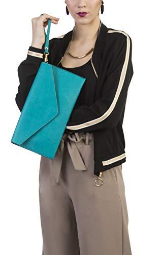 Lunga Con Turquoise Big Pelle Pochette Shop Tracolla Eco Handbag In 8R7Aq