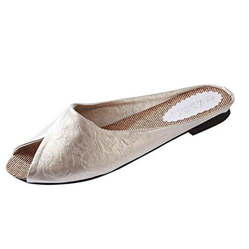 Amiley Sandalshäftklammermatareflip-flop För Kvinnor, Flops Sommar Sandaler Skor Sandaler Damer Flip Tofflor Beige