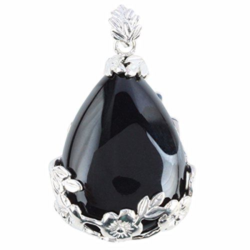 rockcloud Gemstone Teardrop Floral Healing Chakra Pendant Black Agate