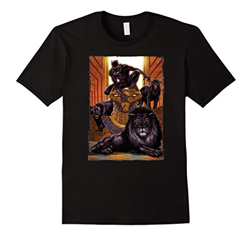 Mens Marvel Black Panther King In the Lion's Den Graphic T-Shirt 2XL Black