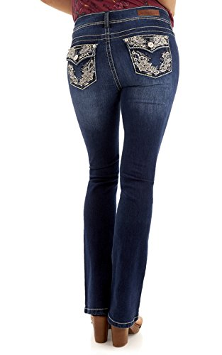 WallFlower Women's Juniors Luscious Curvy Bling Bootcut Jeans in Kris, 3