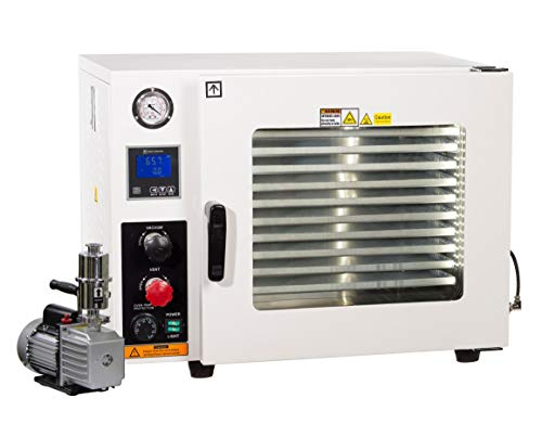 Across International AT19P7 Stainless Steel 5-Sided 1.9 cu. ft. Vacuum Oven with Tubing/Valves, Oil-Filled Gauge, LED Light and 7 cfm Compact Vacuum Pump (Tubing Sizes Steel)
