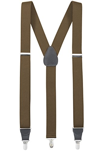 "UPC 989898669783, Mens Elastic Y-Back Adjustable Clip-on Suspenders With leather Trim - Olive (Regular, 46"" Long)"