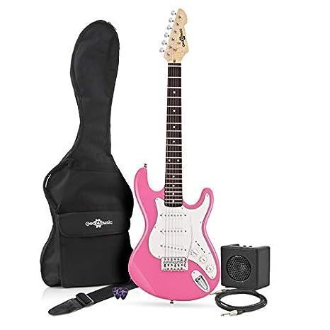 Guitarra Eléctrica LA 3/4 + Mini Amplificador - Rosa: Amazon.es: Instrumentos musicales
