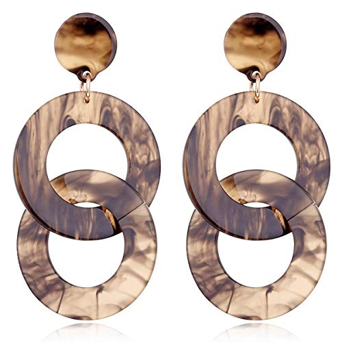 Vintage Acrylic Double Twisted Round Interlocking Link Chain Long Earrings for Women Acetic Acid Earrings