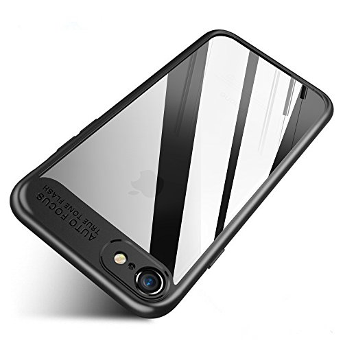 Wireless Charger iPhone 8 Case, iPhone 7 Case, FLOVEME Slim Fit Hybrid Armor Ultra Anti Scratch Lightweight Soft TPU Bumper Shockproof Protective Clear Hard Back Cover, Transparent Black