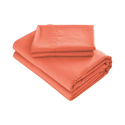 - Prime Bedding Bed Sheets - 4 Piece Queen Sheets, Deep Pocket Fitted Sheet, Flat Sheet, Pillow Cases - Queen Sheet Set, Bright Coral