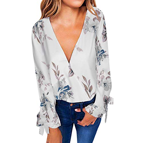 Witspace Fashion Women's Floral Print V Neck Blouse Wrap Front Tunic Shirts Loose Tops ()
