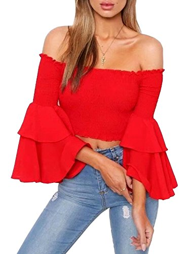 Doballa Women's Off The Shoulder Ruffle Layer Trumpet Long Sleeve Elegant Blouse Shirt Crop - Trumpet Long Sleeve