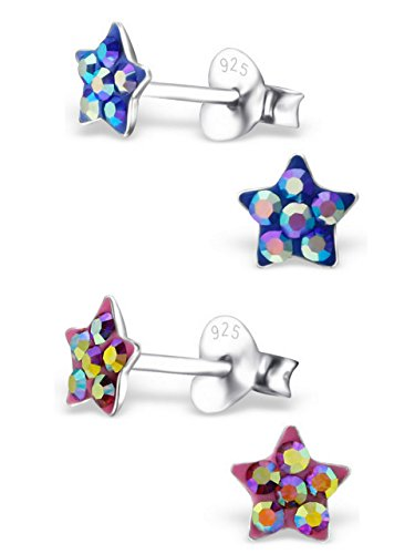 925 Sterling Silver Hypoallergenic Set of 2 Pairs Blue & Pink AB Crystal Star Stud Earrings for Girls and Womens (Nickel Free) (Crystal Ab Star)