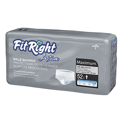 Medline Fitright Active Male Guards, 52 Count (Pack of 12)