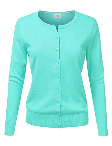 NINEXIS Women's Long Sleeve Button Down Soft Knit Cardigan Sweater Mint 2XL by NINEXIS