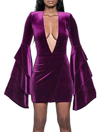 Jaycargogo Velours Féminin Profond Dentelle Manches Cloche Long Cou V Mini Robe Moulante Violette