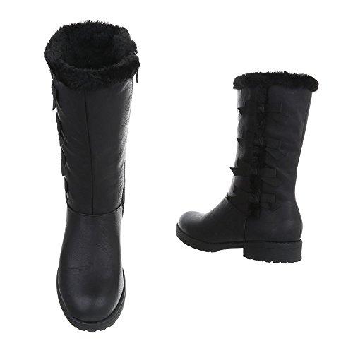 Schuhcity24 Damen Schuhe Stiefel Used Optik Warm Gefütterte Schwarz