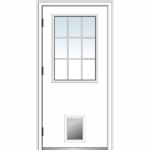 National Door ZA364770R Steel, Primed, Right Hand Outswing, Prehung Front Door, 1/2 Lite with Pet Door, Grilles Between GLASS, 36