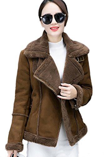 Casual corto lana abrigos abrigo mujeres de con bolsillos Brown