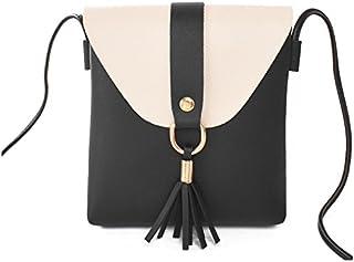 SODIAL Borsa a tracolla della borsa delle signore di cuoio del totalizzatore della borsa a tracolla della borsa delle donne di modo(nero)