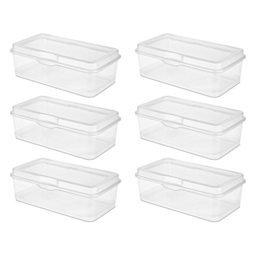 Sterilite 18058606 Large Flip Top  Clear  6 Pack