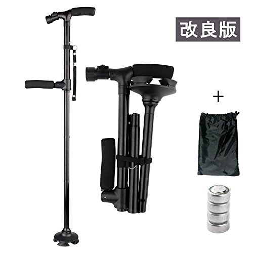 [보행보조재활지팡이]ACTOPP 스틱 지팡이 자립 식 4 점 지팡이 접이식 LED 라이트 탑재 더블 핸들 보조 핸들 경량 넘어지지 신축 가능 [예비 배터리 수납 가방 포함] 84-96cm