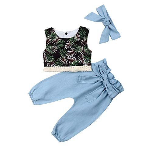 Toddler Kids Girls Ruffle Lace Shirt Crop Top Wide Leg Fall Pants Summer Clothes Outfits Set (Blue, 2-3 Years)