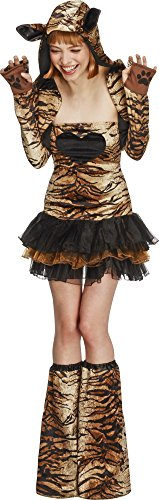Smiffy's Women's Fever Tiger Costume, Tutu Dress, Detachable Clear Straps, Jacket and Boot covers, Animal Attraction, Fever, Size 6-8, (Tiger Costume Adults)