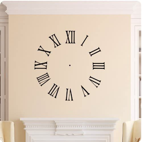 Amazon Com Clock Face Wall Decal Roman Numerals Time Wall Decal Sticker Art Home Décor Home Kitchen