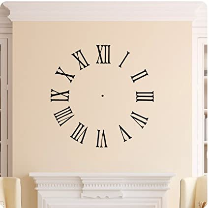 Amazoncom Clock Face Wall Decal Roman Numerals Time Wall Decal