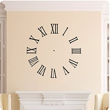 Amazon.com: Clock Face Wall Decal Roman Numerals Time Wall Decal ...