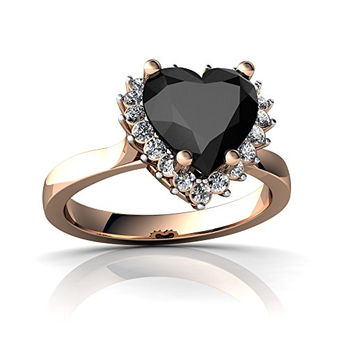 (14kt Rose Gold Black Onyx and Diamond 8mm Heart Halo Heart Ring - Size 4)
