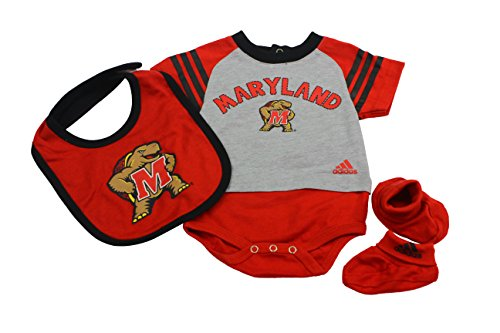 (Outerstuff Maryland Terrapins Baby Clothing, University 3 Piece Creeper Bib Booties Apparel Set )