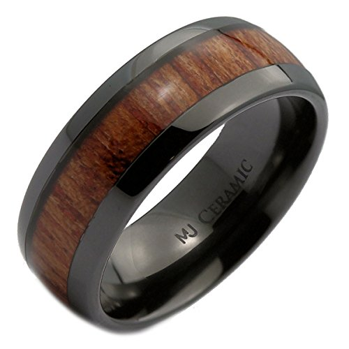 MJ Metals Jewelry Black Ceramic 8mm Wedding Band, Inlay Made from Real Koa Wood, Ring Size 10.5 Ceramic Wedding Band Ring