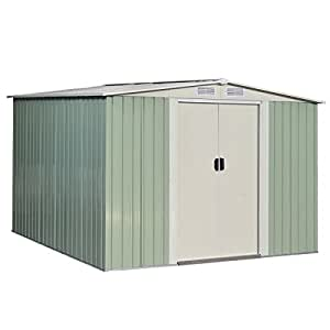 Storage Shed Garden Tool House Sliding Door Galvanized Steel 8.5 x 8.5 FT Green