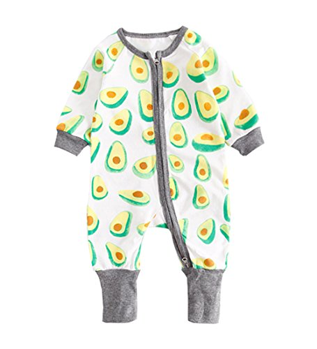 Food Onesie (Cute Fruite and Animal Pattern Toddler Newborn Baby Long Sleeve Zip Romper Outfit Avocado 90)