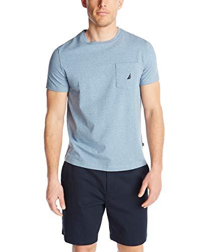 Nautica Men's Solid Crew Neck Short Sleeve Pocket T-Shirt, Deep Anchor Heather, Large