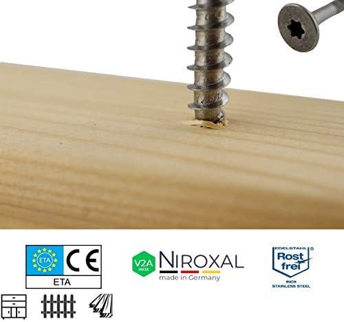 Edelstahl TORX Senkkopf-Schraube aus V2A 6-mm stark 160-mm Schrauben-L/änge 50 St/ück 70-mm Teil-Gewinde Holz-Schraube 6x160