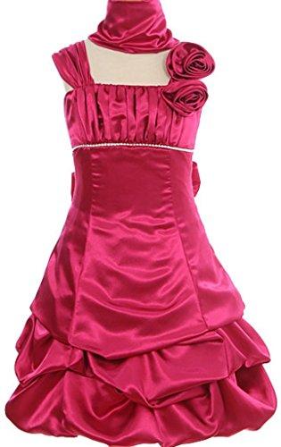 AkiDress Shinny Satin Taffeta Pickup Dress Column Straps for Little Girl Fuchsia 10 -