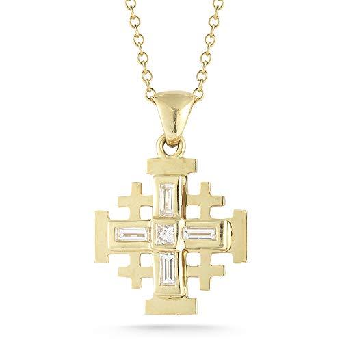 I REISS 14K Yellow Gold 0.5ct TDW White Diamond Jerusalem Cross Pendant Necklace ()