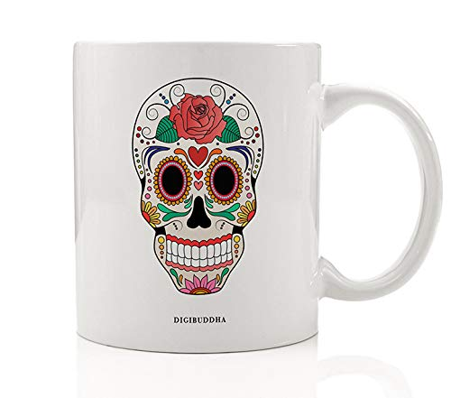 DAY OF THE DEAD Coffee Mug Día de Muertos Skull Image Beautiful Gift Idea October Halloween November All Soul's Day Present Celebrate Ancestors Family Friends 11oz Ceramic Tea Cup Digibuddha DM0615 -