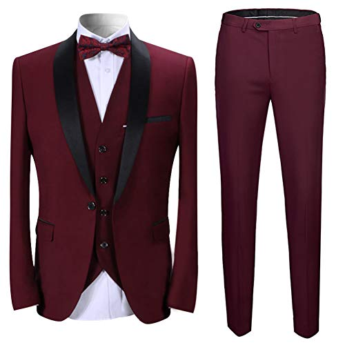 Boyland Men's 3 Pieces Suit Shawl Lapel Tuxedo Suits Shawl Lapel One Button Tux Jacket Vest Trousers Dinner Wedding Claret