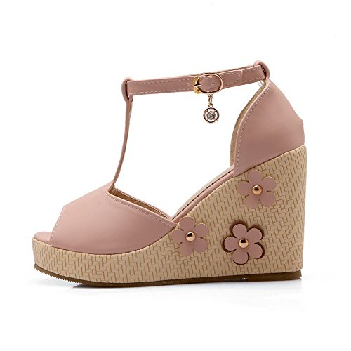 AmoonyFashion Womens Soft Material Buckle Peep Toe High Heels Solid Sandals Pink lWo2fNO
