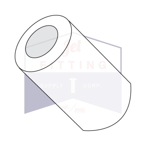 1/4'' OD Round Spacers / #4 x 1/4'' / Nylon/Outer Diameter: 1/4''   Hole Size: #4   Length: 1/4'' (Quantity: 1,000 pcs) Made in USA by Jet Fitting & Supply Corp