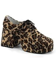 Ellie Shoes PLJAZZBNFUR-M Mens Cheetah Fur Platform Shoe MEDIUM