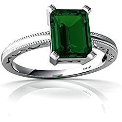 14kt Gold Lab Emerald 8x6mm Emerald_Cut Milgrain Scroll Ring